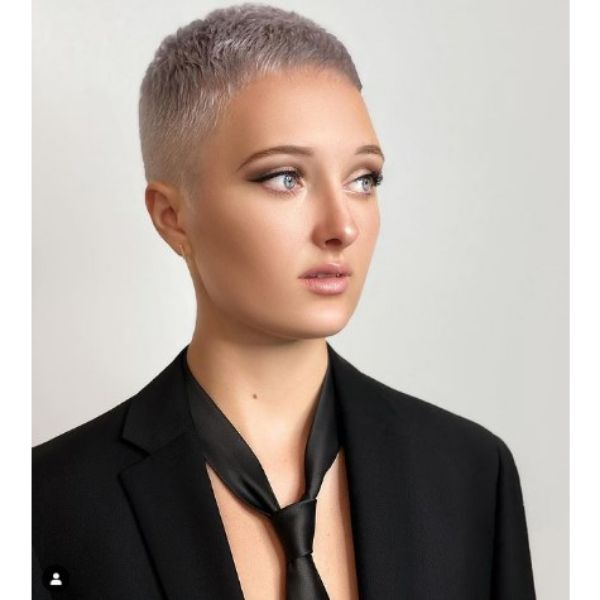 Platinum Blonde Pixie For Short Thin Hair