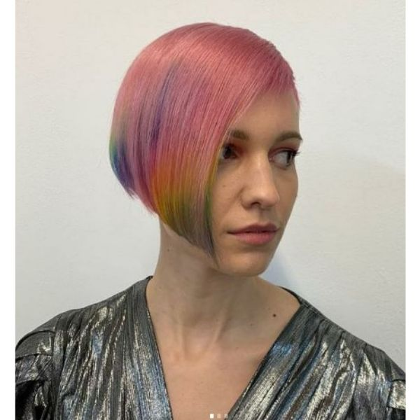 Rainbow Asymmetric Bob For Thin Hair