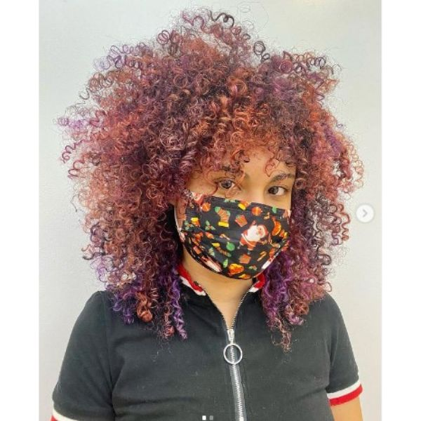 Rainbow Colored Afro Haircut For Curly Hair
