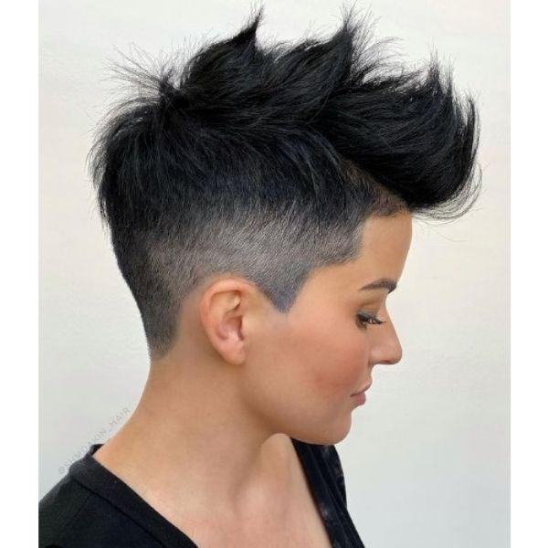 Razor Faded Pixie Hairstyle For Oval Face and Thin Hair