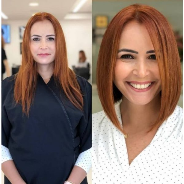 Red Classic Bob Haircut With Middle Part For Oval Face