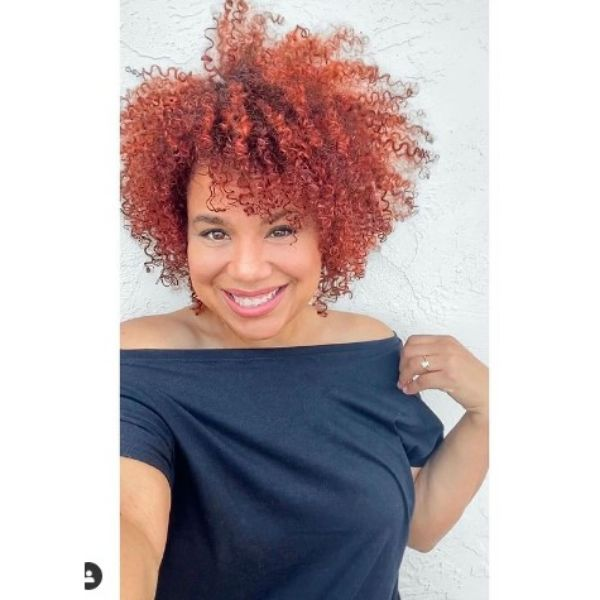 Red Short Afro Haircut