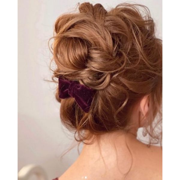 Red Soft Updo Wedding Hairstyle For Medium Hair With Velvet Ribbon