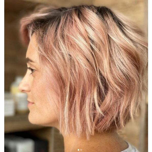 Rose Gold Bob Haircut With Messy Waves