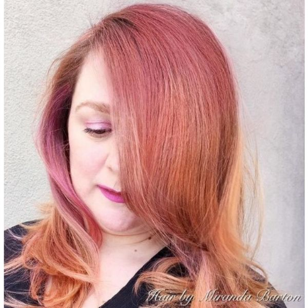 Rose Gold Highlights For Thin Hair With Wavy Layers