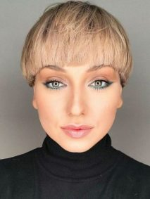 Short Bob Haircut With Straight Bangs