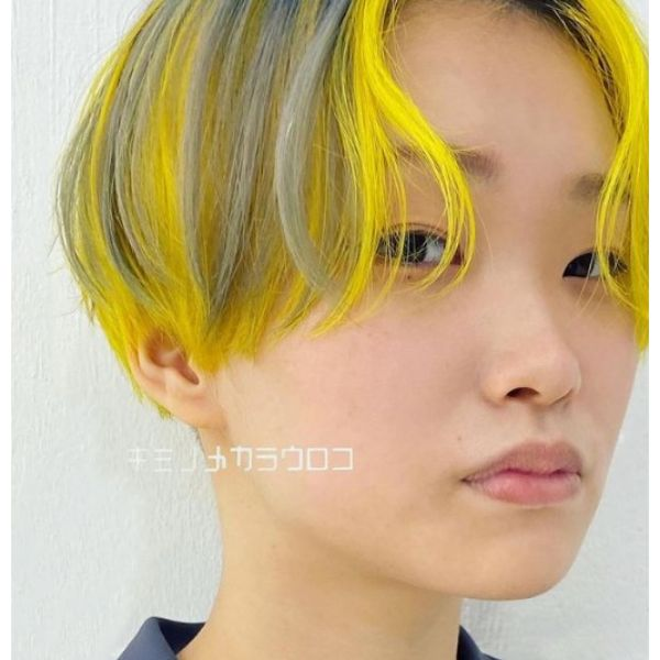 Short Bowl Cut With Yellow Grey Thin Strands
