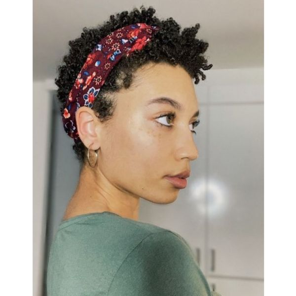 Short Curly Hairstyle With Colorful Headband