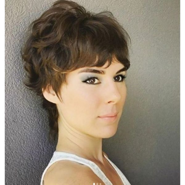 Short Curly Pixie Mullet For Wavy Hair
