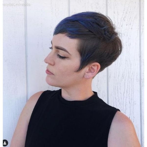 Short Dark Pixie For Thin Hair With Blue Highlights