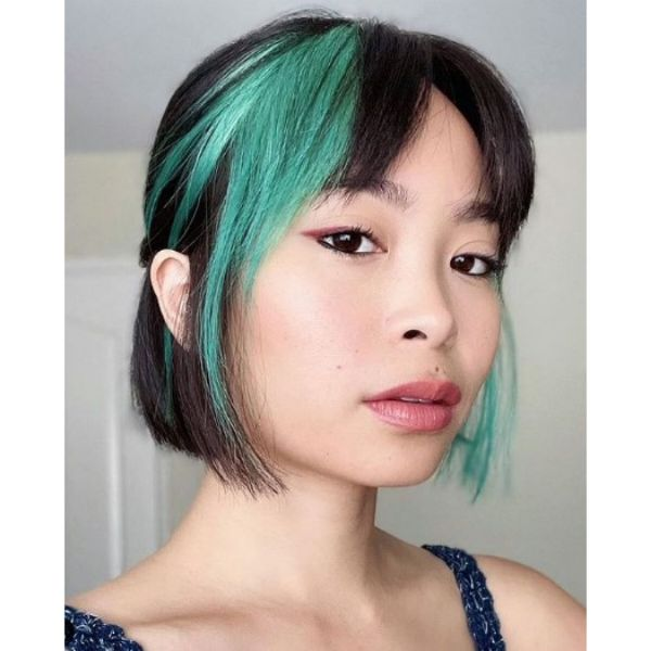 Short French Bob With Green Highlights