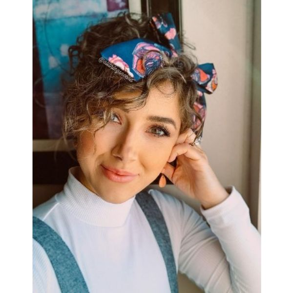 Short Haircut With Curly Bangs With Patterned Headband