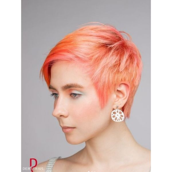 Short Pixie Haircut For Oval Face with Pink Reflections