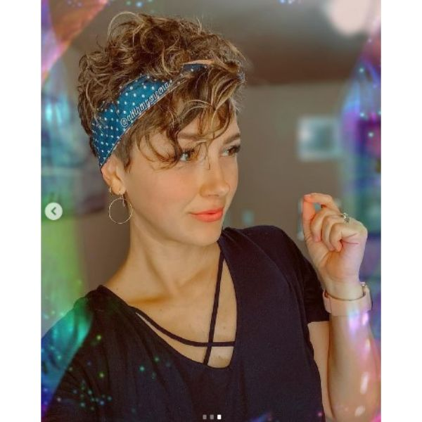 Short Pixie Haircut For Curly Hair With Headband