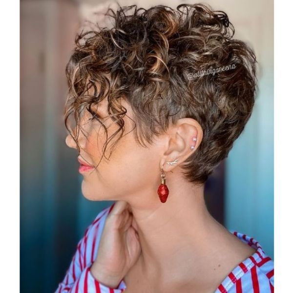 Short Pixie With Curly Top For Balayage Hair