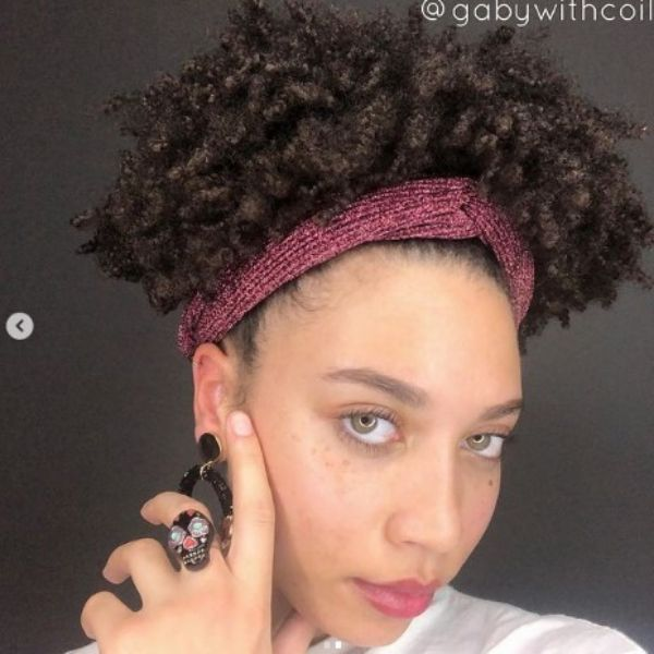 Short Puffy Curly Hair With Sparkling Headband