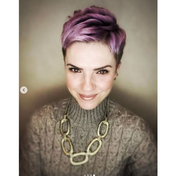 Short Textured Undercut For Pastel Purple Thin Hair