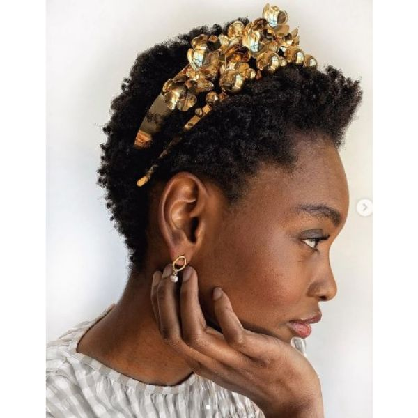 Short Twa For Curly Hair With Stunning Golden Headband