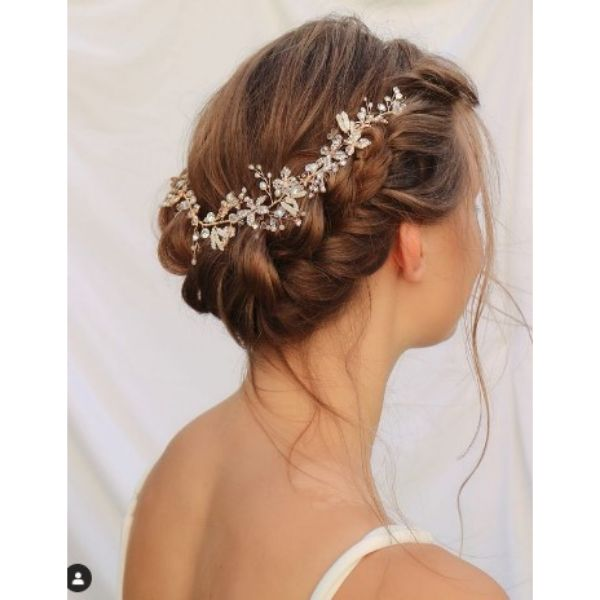 Side Braid Wedding Hairstyle With Rose Gold Vine