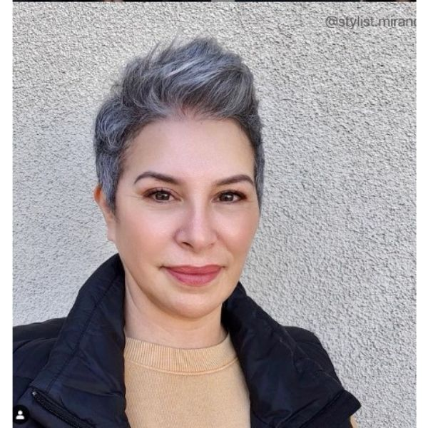 Silver Pixie With Messy Top Hairstyle