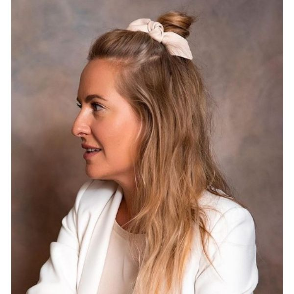 Simple Half Knot With White Bow For BlondeHair