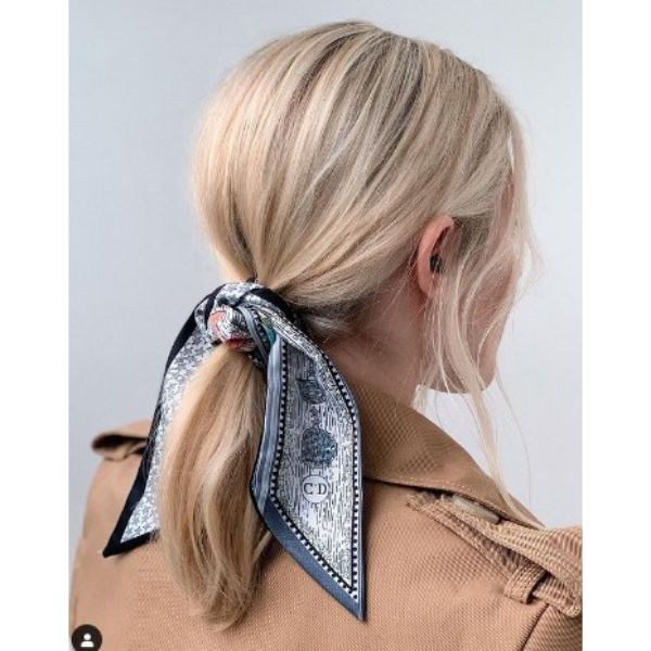 Simple Ponytail With Knotted Scarf And Falling Strands