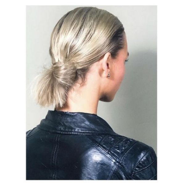 Sleek Back Knot Hairstyles For Blonde Hair