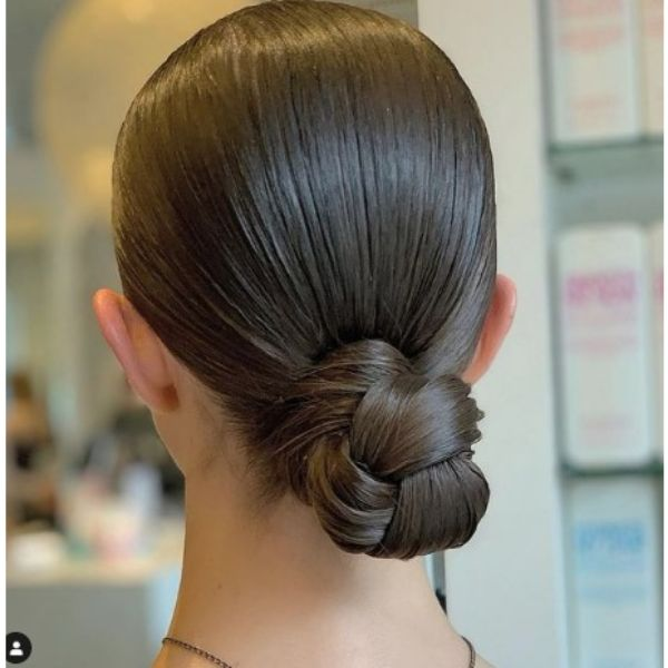 Sleek Elegant Braided Low Bun For Thin Brown Hair