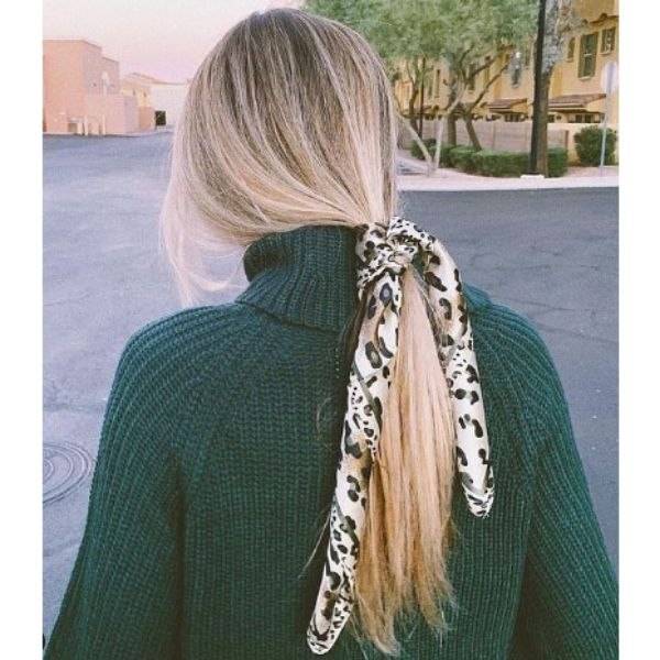 Sleek Loose Ponytail For Blonde Hair With Headscarf