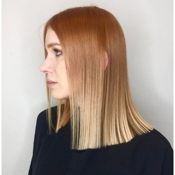 Sleek Straight Copper Blonde Haircut For Thin Hair