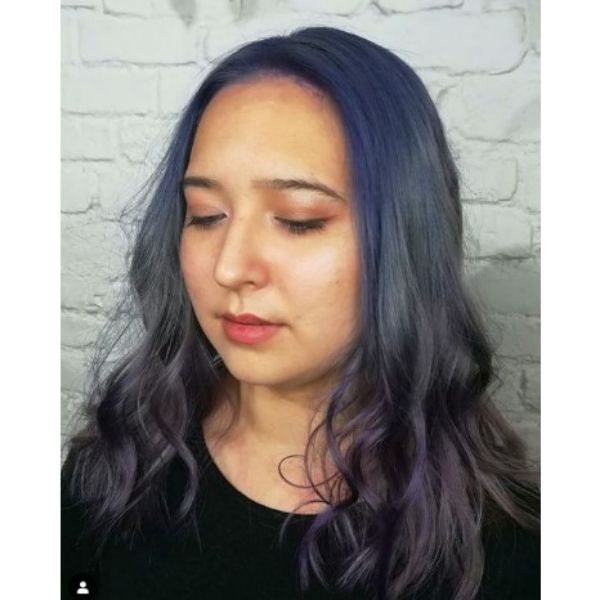 Smokey Blue Hairstyle With Soft Waves