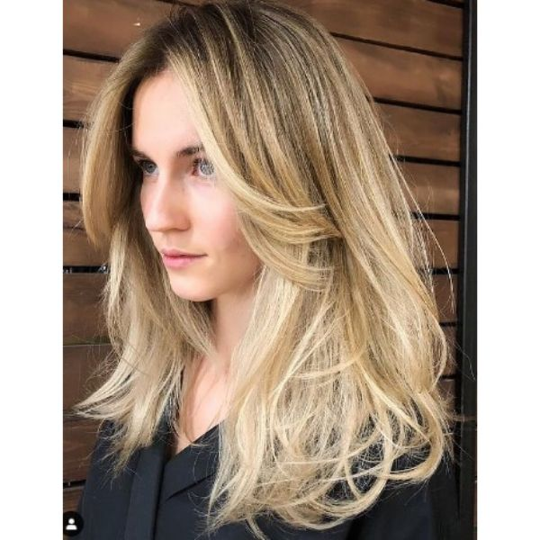 Soft Blonde Hairstyle With Feathered Layers