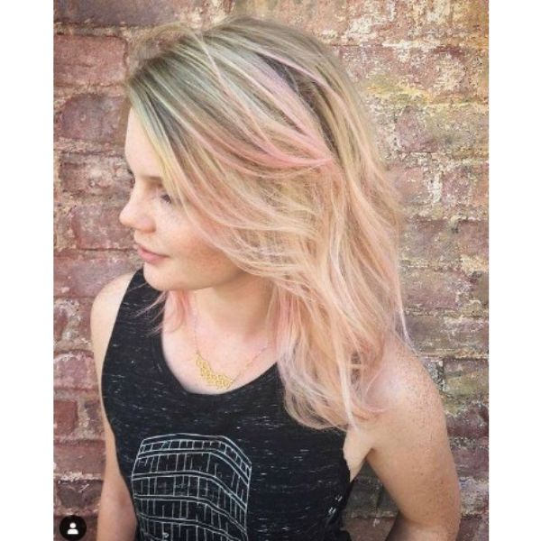 Soft Layered Thin Hair With Pink Highlights