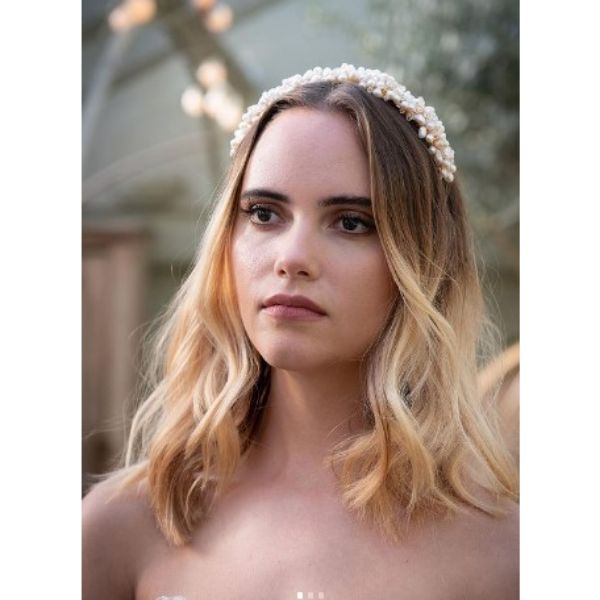 Soft Waves For Blonde Wedding Hairstyles With Jewelry HeadPiece