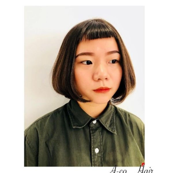 Straight Bob With Baby Bangs For Oval Face And Thin Hair