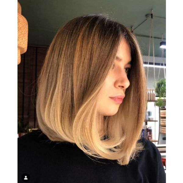 Straight Long Bob Hairstyle For Blonde Hair