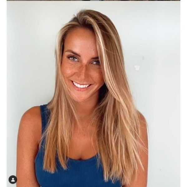 Straight Long Thin Hair With Blonde Highlights