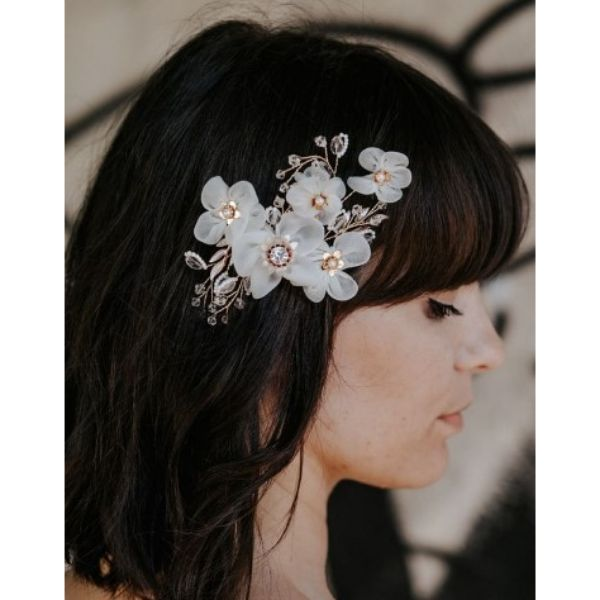 Straight Wedding Hairstyles For Medium Hair With Flower