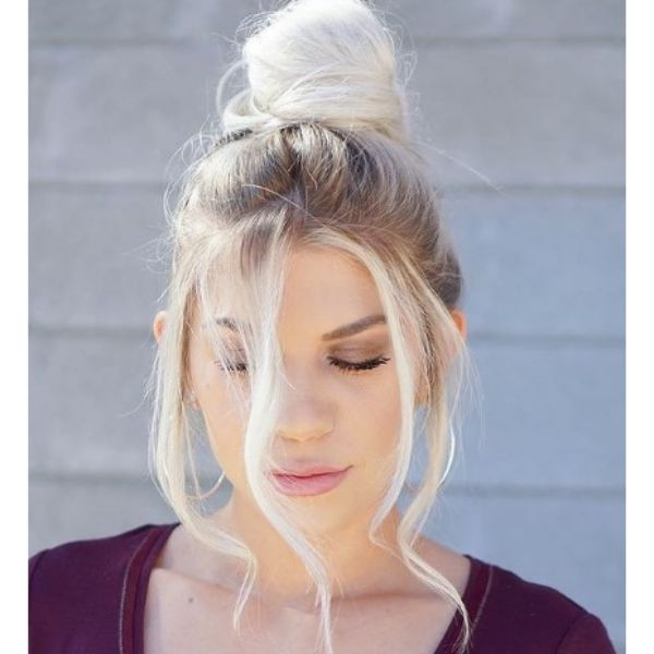 Stylish Messy Bun With Falling Strands