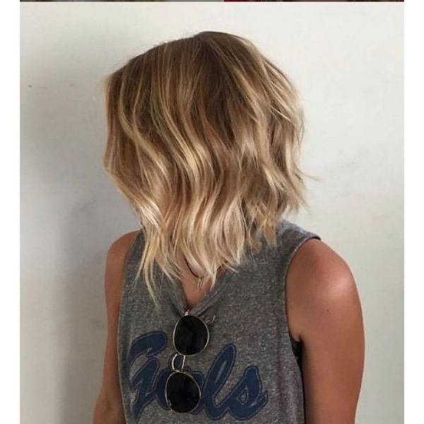 Sunkissed Blonde Wavy Bob Hairstyle