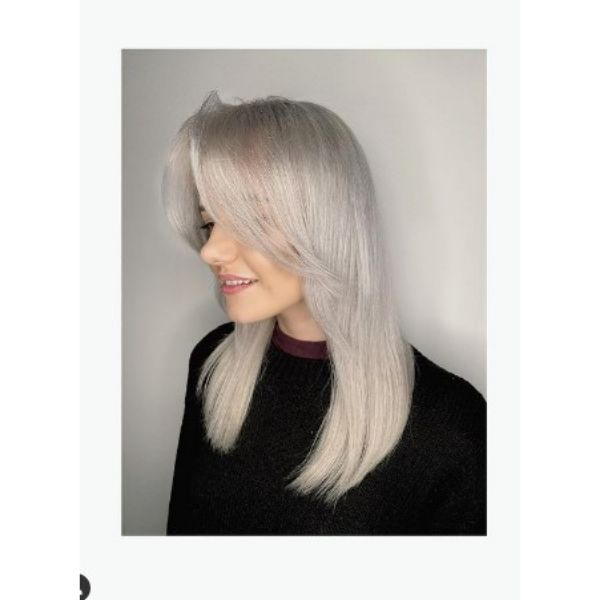 Swoopy Layers For Ice Blonde  Hair