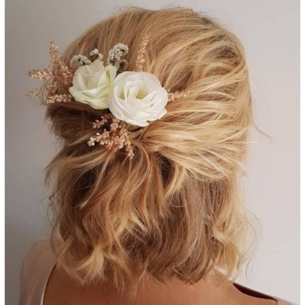 Textured Half Up With Flower Accessory