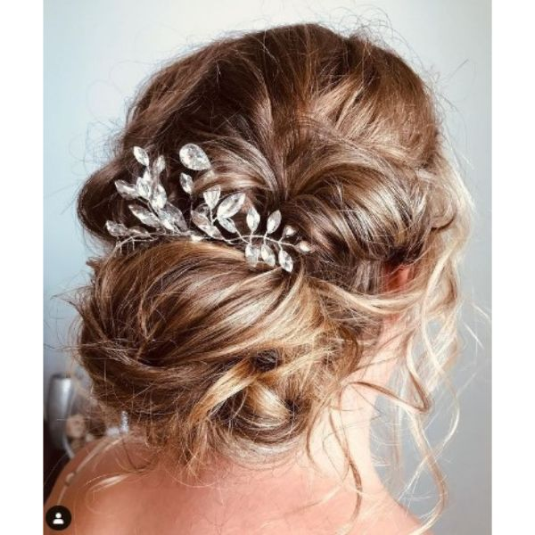 Textured Messy Updo With Head Piece