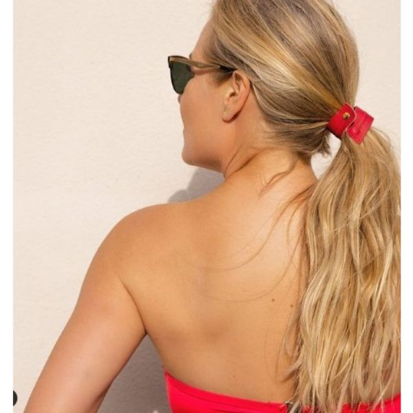 Textured Ponytail With Red Leather Band For Thin Blonde Hair