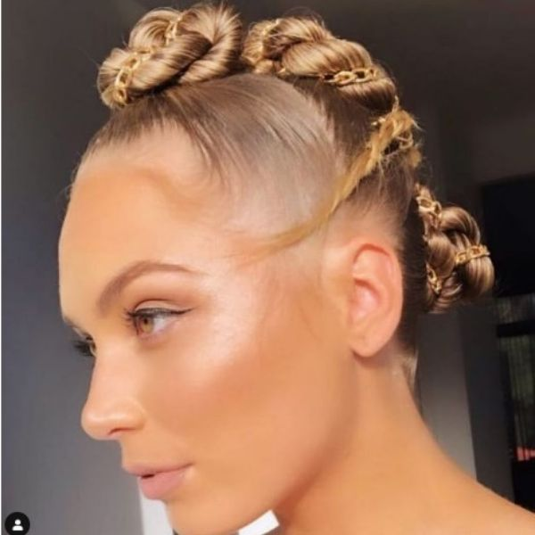 Twisted Knots Hairstyle With Golden Chain Faux Hawk For Thin Hair