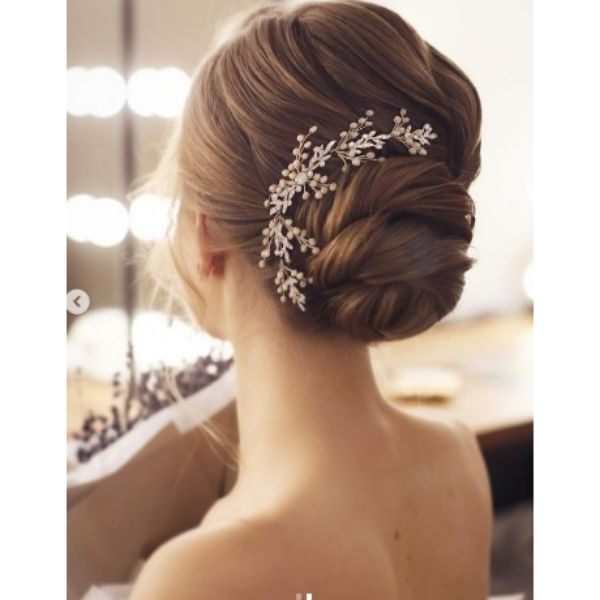 Twisted Low Bun With Floral Head Piece