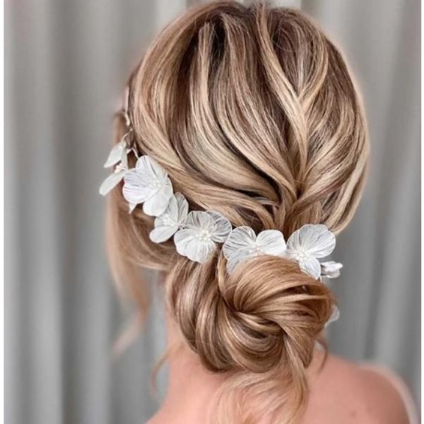 Twisted Undone Low Bun With Silver Floral Vine