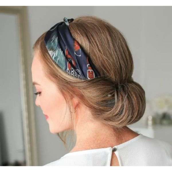 Twisted Updo With Colorful Scarf For Blonde Hair