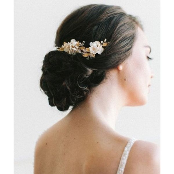 Twisted Updo With Golden Vine And White Flowers Wedding Hairstyles