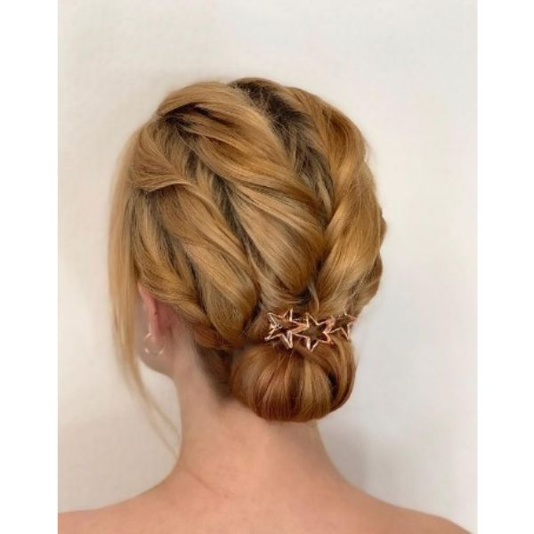 Twisted Wedding Updo With Star Hair Pin